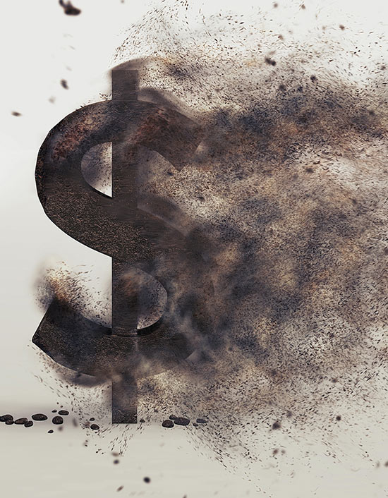 Image of a dollar sign blowing away